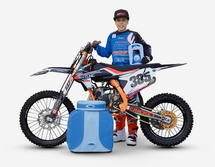 koke fuentes y su moto con magnetoterapia biomag